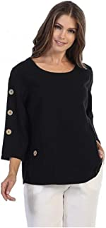 Focus Fashion Women's 100% Cotton Seersucker Round Neck 3/4 Sleeve Tunic Shirt