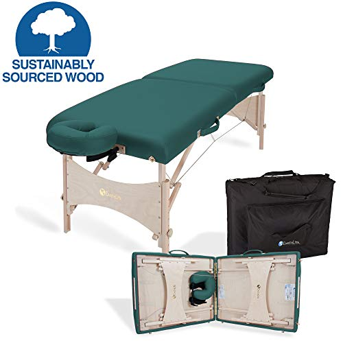 EARTHLITE Portable Massage Table HARMONY DX – Eco-Friendly Design, Hard Maple, Superior Comfort, Deluxe Adjustable Face Cradle, Heavy-Duty Carry Case (30' x 73'), Teal