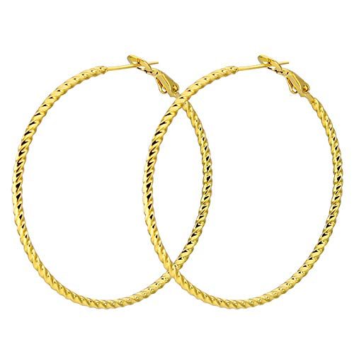 Punk Big Size Hoop Earrings Trendy Party Exaggerated Gold Color Round Circle Earrings For Women Jewelry 50 Mm
