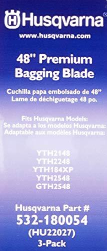 Husqvarna HU22027 48-Inch Premium Hi-Lift Bagging Blade, 3-Pack, Orange