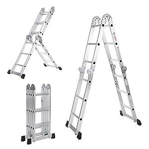 iKayaa AM0112A - Escalera Plegable 7 En 1 Multifunción Extensible,Max.150kg,12 Peldaños(Pasado EN131-Parte 4:2007 Estándar)