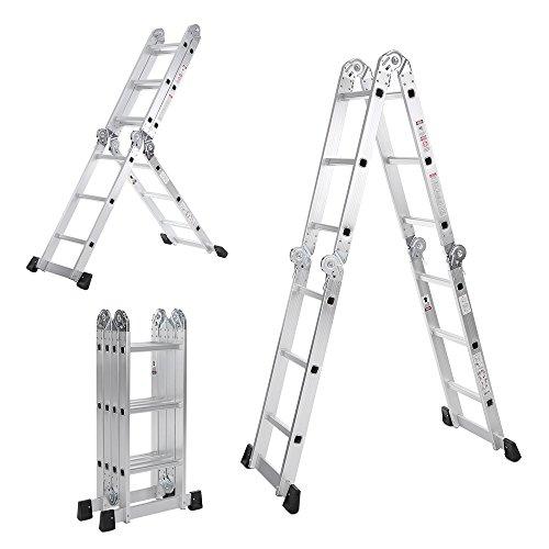 iKayaa 7 in 1 Multi Purpose passo scaletta pieghevole ponteggio alluminio estensione scaletta lavoro piattaforma 330lb / 150KG di capacità