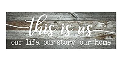This is Us Our Life Our Story Our Home Rustic Print Wood Wall Sign 6x18 (Gray)