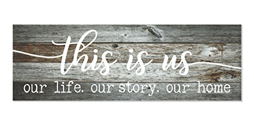 This is Us Our Life Our Story Our Home Rustic Wood Wall Sign 6x18 (Gray)