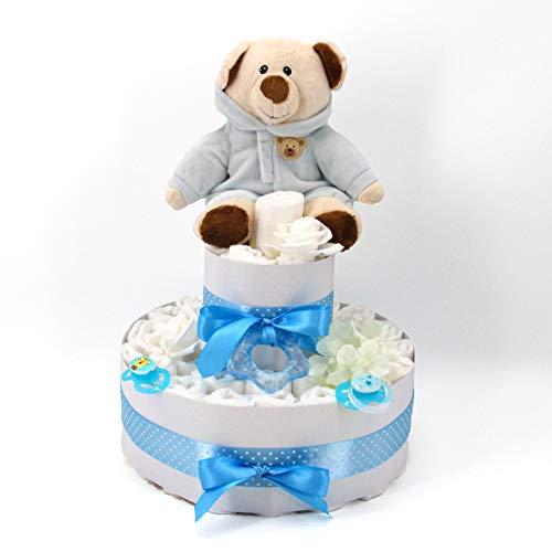 Premium Marken-Windeltorte für Jungen mit Kuscheltier & gratis Grußkarte, perfekt geeignet als Geschenk zur Geburt für Babyparty
