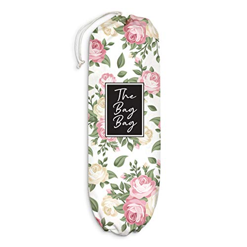 Rose Plastic Bag Holder Floral Pattern Grocery Shopping Bags Carrier Storage Organizer Dispenser Home Kitchen LaundryRoom Decor Gift for Housewarming Thanksgiving Christmas Extra Large(23' x 9')