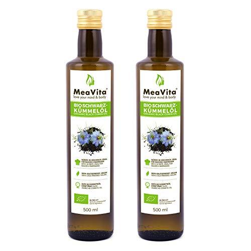 MeaVita Bio Schwarzkümmelöl, kaltgepresst, (2 x 500ml) gefiltert und schonend gepresst reich an ungesättigten Fettsäuren