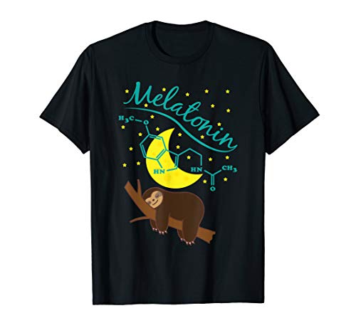 Sleeping sloth on tree with melatonin structural formula T-Shirt