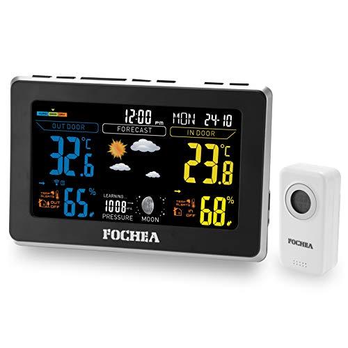 FOCHEA Stazione Meteo con Sensore Esterno, Stazione Meteorologica Wireless Schermo LCD a Colori per Previsione di Tempo, Monitor Temperatura umidità, Sveglia, Snooze, Tempo, Data, Fase Lunare (Nero)