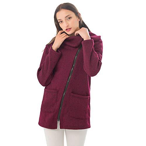 Komise Damen Freizeitjacke Mantel Langer Reißverschluss Sweatshirt Outwear Tops