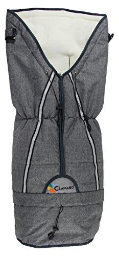 Clamaro 'YETI' Universal Thermo Winter Fußsack mit wärmendem Polarfleece Futter, Oberstoff windabweisend, wetterfest und atmungsaktiv, für Kinderwägen, Babyschalen oder Schlitten, Leinen Grau