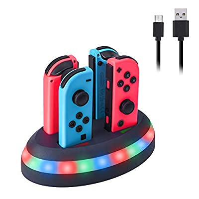Joy Con Charging Dock 4 in 1 Joy-Con Charging marquee Dock Station for Nintendo Switch with Quick Charge Individual LED Charge Indicator and USB Cable for Nintendo Switch Joy Con Controller
