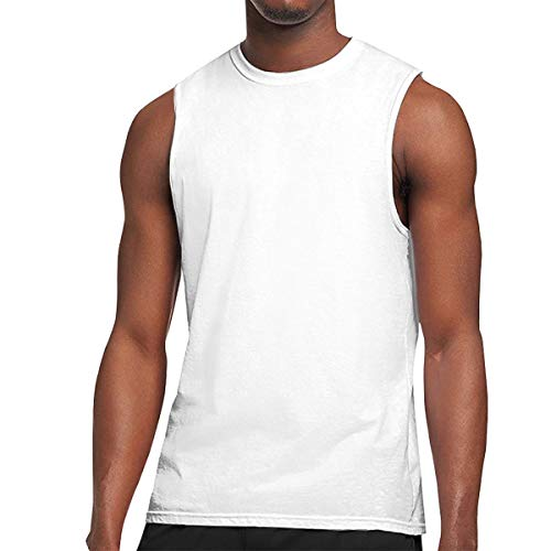 Men's Sleeveless Tees Crewneck Shirts - Evolve Fish Muscle Tank Tops White