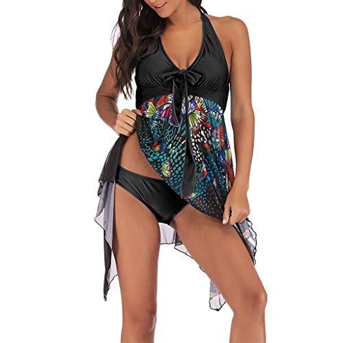 KEERADS Damen 2 pieces womens floral print plus size bikini set summer bikini tankini swim dress swimsuit beachwear padded swimwear women swimsuits beach swimsuits Black Large