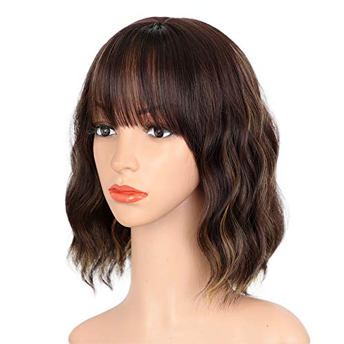 ENTRANCED STYLES Dark Brown Wigs for Women Blonde Highlights Wig Natural Looking Short Wavy Bob Wig with bangs Medium Length Heat Resistant Synthetic Wig Daily Party Use 12""