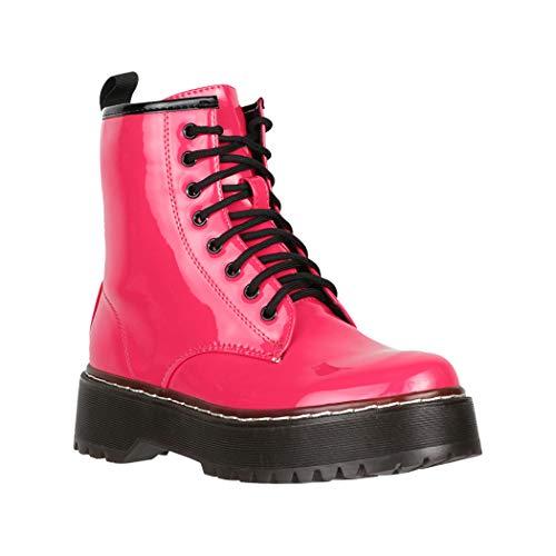 Elara Damen Stiefelette Worker Boots Chunkyrayan HL01 Fuchsia-40