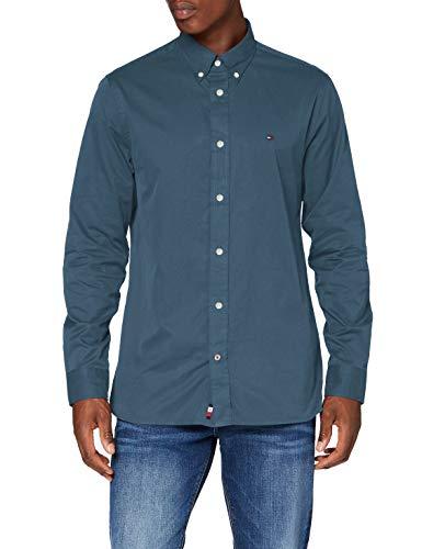 Tommy Hilfiger Herren Fine Twill Shirt Hemd, Charcoal Blue, M