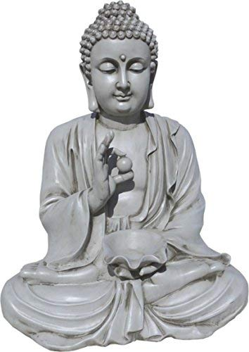 AnaParra Estatua Buda Prosperidad Figura Decorativa para Jardín o Exterior Hecho de Piedra Artificial | Figura Buda 80cm. Color Natural Musgo