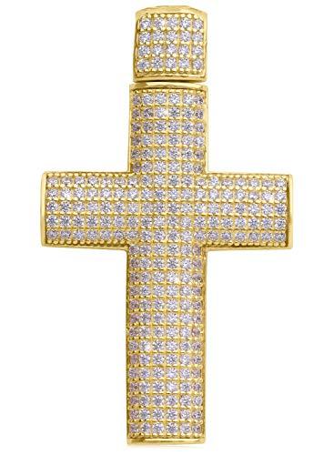 MyGold Kruis hanger (zonder ketting) geel goud 585 goud (14 karaat) massief met steen zirkonia 38 mm x 22 mm gouden kruis groot zware kettinghanger geschenken voor vrouwen mannen Kaynu V0013095