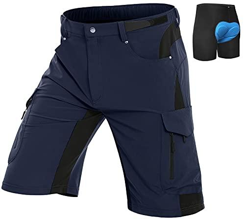 Vzteek Pantalones cortos de ciclismo MTB, para hombre, acolchados, ligeros, para ciclismo azul marino XXL