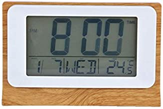 Digital Desk Clock with Backlight, Calendar, Wooden Texture Digital Alarm Clock with Weather Temperature