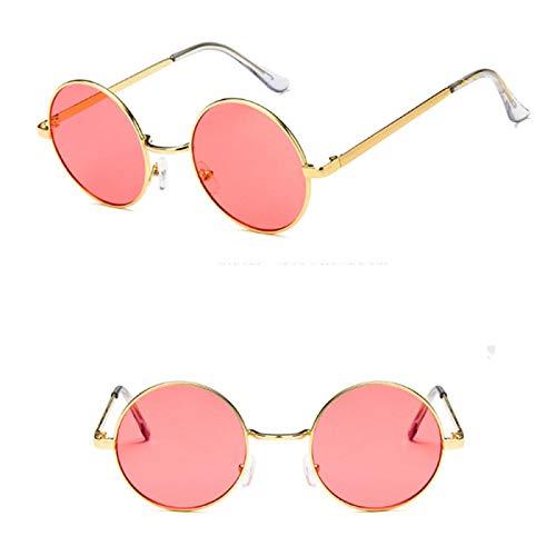 NJJX Gafas De Sol DeMontura RedondaGafas Retro Coreanas De Moda Para Hombres Y Mujeres Gafas Gafas De Sol Rojo