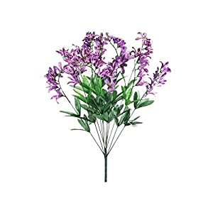 22″ Bouquet Purple Freesia Bush Artificial Silk Flowers LivePlant