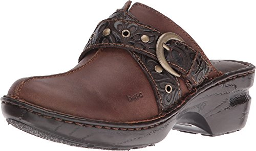 b.o.c. Women's Karley Chocolate Tooled Leatherclogs-and-Mules-Shoes 8 B(M) US