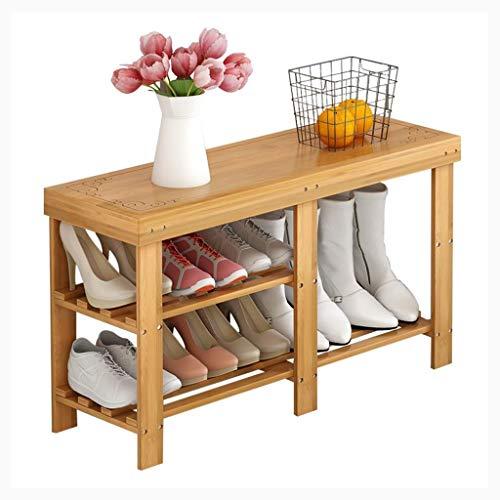 Zapatero Bambú zapatero de almacenamiento, de madera del zapato estante organizador, Pasillo de zapatos de almacenamiento, sala de estar, entrada, Guardarropa, 90 x 27 x 42cm / 35.4 x 10.6 x 16.5
