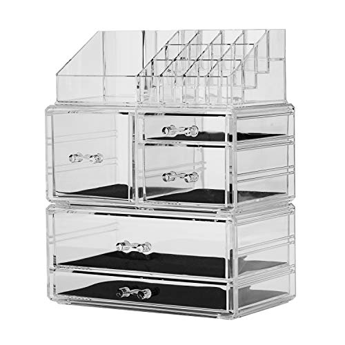 YBlifely Makeup Organizer, 3 Pieces Set Acrylic Cosmetic Storage Drawers and Jewelry and Lipstick Display Box for girls and women