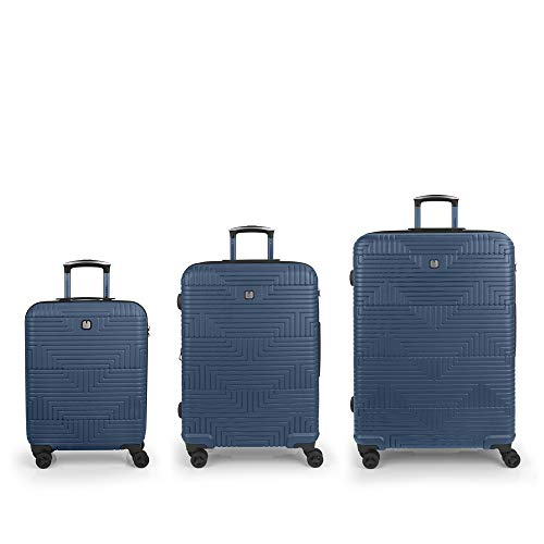 Gabol Shock | Hard Case Set with Three Blue Suitcases with Cabin Suitcase, Medium Trolley and Large Trolley