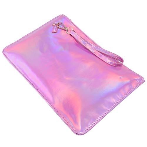 VALICLUD Metallic Mylar Zip Lock Taschen Pu Umschlag Tasche Regenbogen Handtasche Geldbörsen Klar Gelee Mini Tasche Kosmetiktasche Make-Up Tasche für Shopping-Party (Weiß)