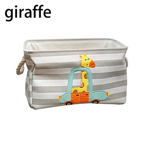 Leuke Dinosaur Baby Wasmand Opvouwbaar Speelgoed Opbergemmer Picknick Vuile Kleding Mand Doos Canvas Organizer Cartoon Dier, vierkante giraf