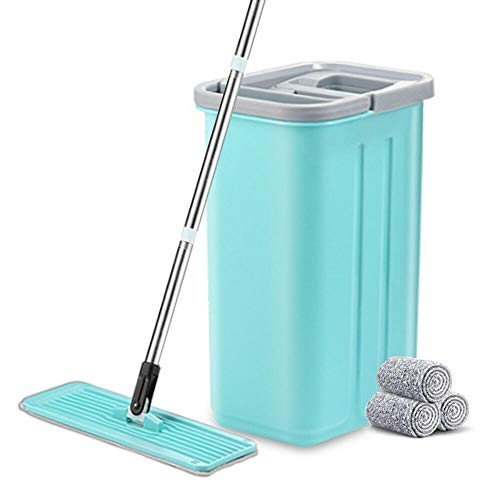 Buyplus Squeeze Flat Mop Bucket System - Hand Free Dry Wet Self Wringing Floor Cleaning Kit,360 Degree Rotation Stainless Steel Telescopic Pole Handle,3 Reusable Microfiber Pads