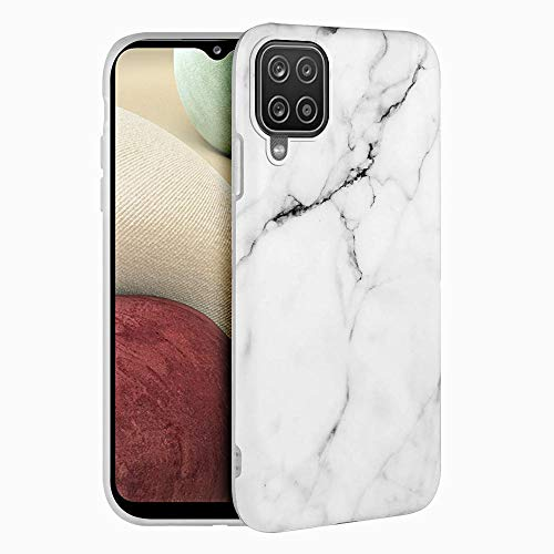 Funda para Samsung Galaxy A12 Carcasa Mármol Suave Silicona, E-Lush Estuche Ultra Delgado Soft Gel Flexible TPU Case Cover Amortigua Golpes Caso para Samsung Galaxy A12, Blanco