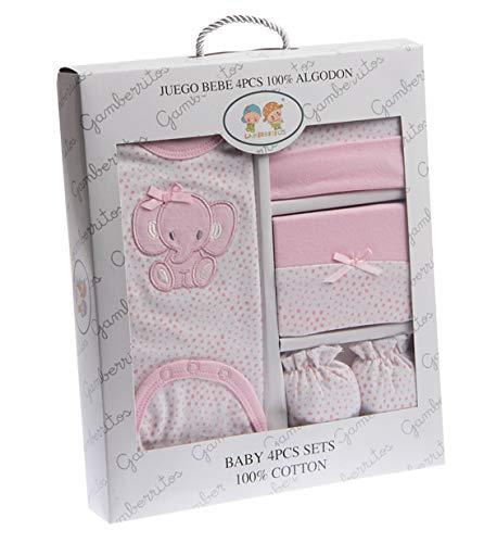 Set regalo nacimiento Danielstore. Compuesto por: Body, Gorro, manoplas y babero. Recién nacido, presentado con un estuche de regalo. Color (Rosa con body)