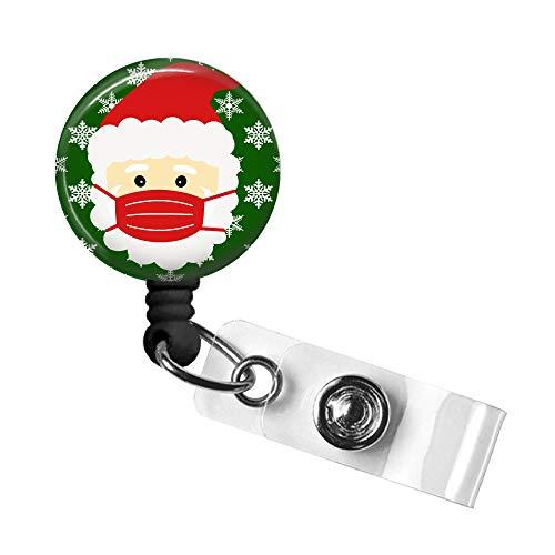 Santa Mask Badge Reel, Christmas Retractable ID Tag, Badge Pull, Badge Holder with Swivel Alligator Clip, 34in. Nylon Cord, Medical MD RN Nurse Office Employee, Stocking Stuffer