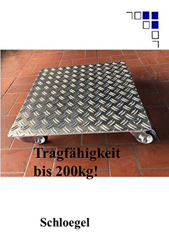 Pflanzenroller Quadrat bis 200kg Metall Blumenroller Untersetzer Indoor Outdoor Alu (3,5/5 Aluminium Riffelblech, 700x700mm)