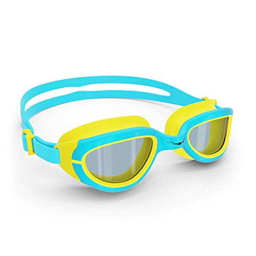AqtivAqua Kids Swim Goggles Swimming Goggles for Kids Youth Childrens Boys Girls (SkyBlue/Yellow Colour)