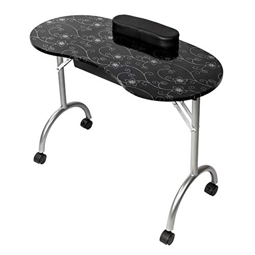 MAG.AL Portable Manicure Nail Table, with Arm Rest & Drawer Manicure Table and Nail Beautician Desk, for Nail Salon and Spa House,A