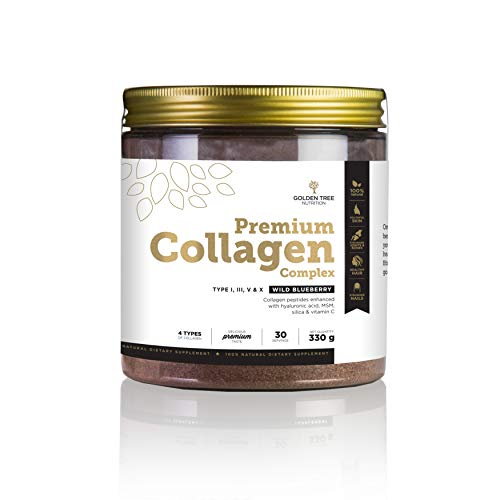 Golden Tree Premium Kollagen Komplex Pulver, 330 g, 30 Portionen, 4 Kollagen-Typen