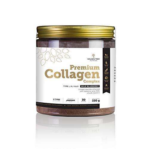 Golden Tree Premium Collagene Complex in Polvere, 330g, 30 porzioni, 4 tipi di collagene