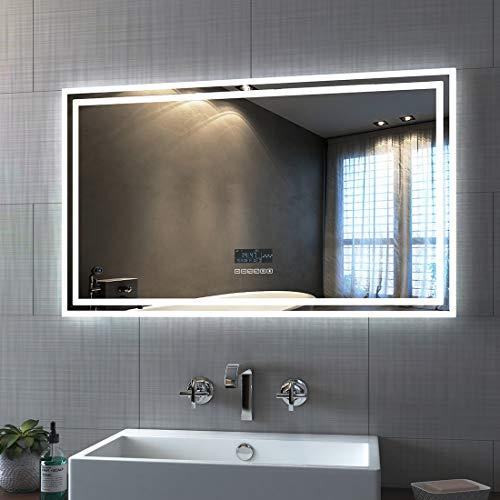 Bath-mann LED Badspiegel 100x60cm Wandspiegel Beleuchtung Badezimmerspiegel mit Bluetooth 4.1 Lautsprecher, Touchschalter, Beschlagfrei, Uhr