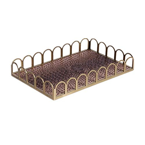 ChengBeautiful Dekoratives Tablett Metall Tray Leder Obstschale Küche Couchtisch Home Decoration Frühstückstablett (Farbe : Braun, Size : 41x26x6cm)