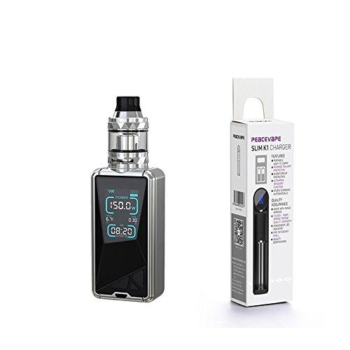 Eleaf Tessera Kit 150W TC 3400 mAh ELLO TS 2mL Atomizzatore Sigaretta Elettronica Senza Nicotina (Argento) con PEACEVAPE™ 18650 Caricabatterie USB