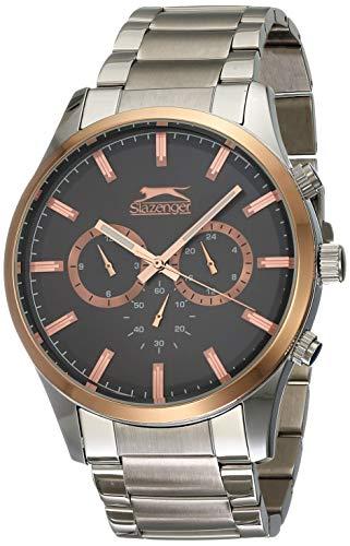 Slazenger Analoge Herren-Armbanduhr aus silbernem Metall, japanisches Quarzuhrwerk und multifunktionales Zifferblatt