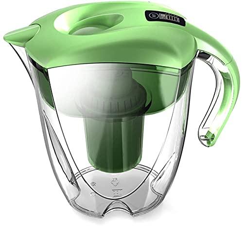 Jarra de Filtro de Agua, 2,5L ionize de Agua Sana Pura, hogar de Cocina Familiar de Cocina, Filtro de Agua, BPA Gratis, Elimina el Cloro, los Metales y los sedimentos. (Color : Green)