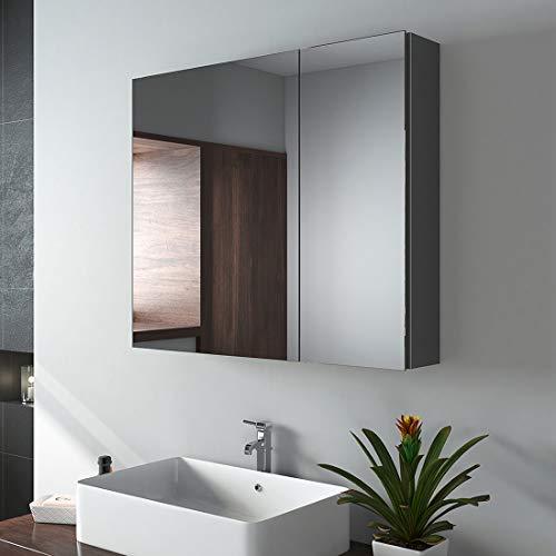 EMKE Spiegelschrank, 75x65cm Badezimmerspiegelschrank, zweitüriger Badschrank mit doppelseitigem Spiegel (Deep Space Grey)