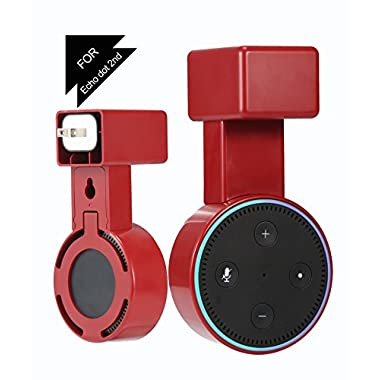 Sukira Outlet Wall Mount Hanger Stand for Round Puck Speakers Without Mess Wires Or Screws, Dot Accessories, Compact Holder Case Plug in Kitchens, Bathroom And Bedroom (Red)