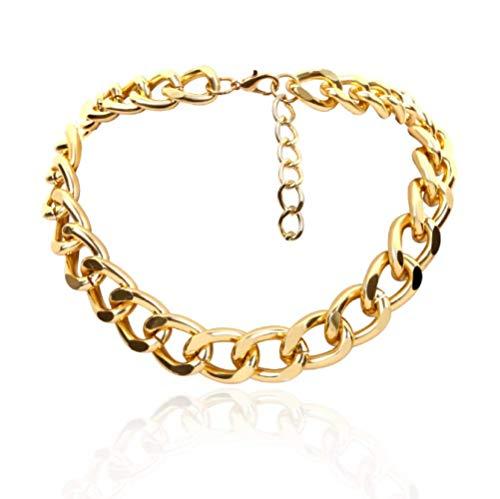 LIUWW Halskette Kragen Hip Hop große klobige Aluminium Gold Dicke Kette Halskette Frauen Schmuck